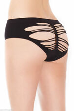 Sexy Black Front Razor Cut Slashed Look Back Panty Fits S/M 8 and 10