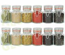 SET 12 GLASS SPICE JARS STORAGE CONTAINER HERBS SPICES JAM PRESERVE KITCHEN POTS