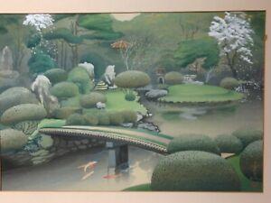 "1951 Japanese Woodblock Print Artist Bakufu Ohno ""Kurodani Garden In Kyoto"""