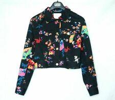 H&M VERSACE DENIM JACKET BLACK FLORAL CROPPED ORIENTAL FLOWER UK 8 EUR 34 US 4