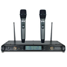 UHF Microfono Wireless True Diversity Dual Handheld Karaoke Vocal Microphone