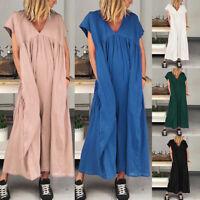 ZANZEA Women Short Sleeve V Neck Beach Dress Ladies Loose Kaftan Maxi Dresses