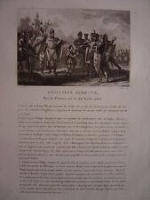Gravure de PHILIPPE AUGUSTE  Roi de France Fils de Louis VII
