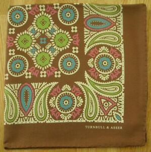 Turnbull & Asser Silk pocket square handkerchief. Brown Paisley
