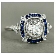 2.0 Ct Cushion Cut Diamond & Sapphire Antique Art Deco Engagement Ring 925Silver