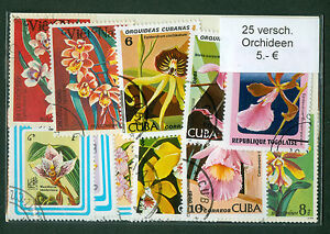 Flowers, Blumen, Orchids, 25 Used Stamps Packet, All Different Very Nice Lot,PA4