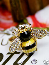 Mini Cute Yellow Rhinestone Queen Bumble Bee Ring Gift can Adjustable 2015