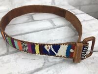 "Vintage Handmade Guatemalan Woven Embroidered Belt Leather 24-28"" S Hippy Boho"