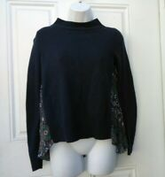 Moth Anthropologie XS Navy Blue Pleated Back Sweater