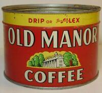 Vintage 1950s OLD MANOR GRAPHIC KEYWIND COFFEE TIN ONE POUND GLENDALE CALIFORNIA