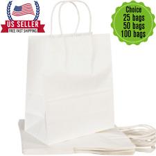 8x45x105white Kraft Bag Bulk With Handleideal For Retail Merchandise Shopping