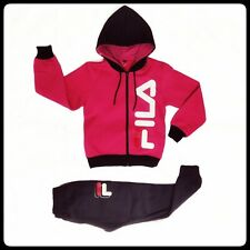 FILA kids girls track suit set outfits warm new pink black zip style12-13 years