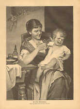 Mother & Child, Feeding Time, A Fussy Eater, Vintage, 1890 Antique Print CUTE