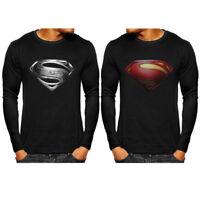 Superman Men T-Shirts Superhero Long Sleeve Gym Sports Jersey Fitness Slim Tops