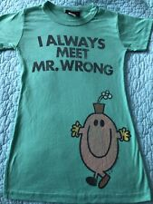 Junk Food T-Shirt Tee Shirt Women's XS Green Little Miss Always Meet Mr. Wrong