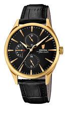 FESTINA F16993/2 Elegante Herren Uhr Multifunktion Leder schwarz neu