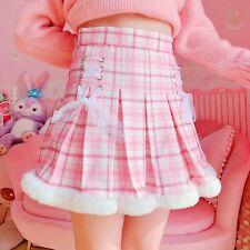 Kawaii Pink Plaid Mini Skirt Harajuku Lace Up Pleated Fur Trim Tennis Bottoms