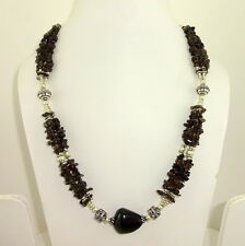 CHIPS NECKLACE NATURAL SMOKY QUARTZ GEMSTONE 72 GRAMS.