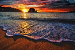 SUNSET BEACH SCENE CANVAS PICTURE POSTER PRINT WALL ART UNFRAMED 008