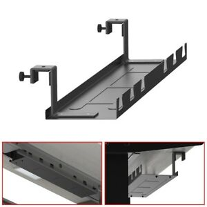 Under Desk Cable Management Tray Wire Cord Power Strip Adapter Organizer Steel