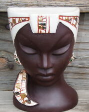 VTG Relco Face Wall Pocket Vase Nubian Blackamoor African Princess Japan 8A170