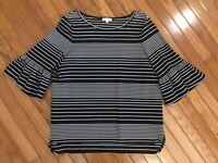 Max Studio Women's Black White 3/4 Sleeves Striped Bell Sleeves Top Blouse Sz XL