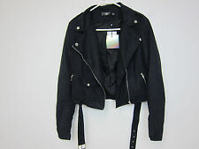 Missguided Tall Faux Suede Biker Jacket - Womens US 6 - Black - NWT