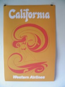 SURFING   California  western airlines Poster  22 by 33 1/2  psychedelic 70's