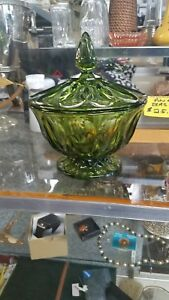 Anchor Hocking Fairfield Pattern Avacado Green Pressed Glass Candy Dish/Lid Vtg.