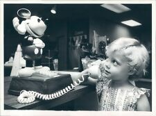 1980 Adorable Little Girl Using Vintage Mickey Mouse Telephone Press Photo