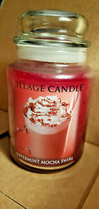 Village Candle PEPPERMINT MOCHA SWIRL 26 oz Country Large Jar 2013 Pour RARE New