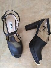 LADIES CLARKS BLACK LEATHER  KENDRA CHARM CHUNKY HEEL SHOES UK 6D