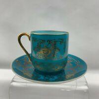 LJ Fine Bone China Demitasse Teacup & Saucer Japan Blue & Gold