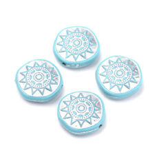 320pcs/500g Unique Silver Sun Enlaced Acrylic Beads Flat Round Blue Craft 20mm