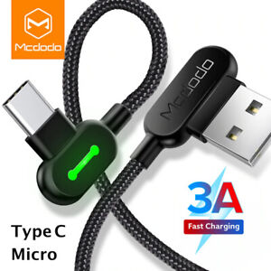 Mcdodo 90 Degree Right Angle Type C Micro Cable 3A Fast Charge. 0.5m - 3m