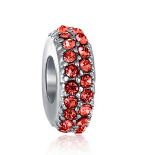 DIY Silver European CZ Charm Red Crystal Spacer Beads Fit Necklace Bracelet