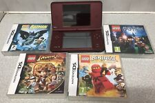 Nintendo DSI XL BERGUNDY HANDHELD SYSTEM + 4 Games No Charger