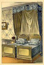Décoration Tenture Francaise Lits Jumeaux Style Fantaisie - Estampe XIXème