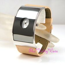 Retro Silver Curved Glass Designer Eames Wide Statement Beige Leather Cuff Watch