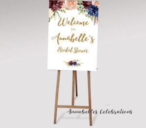 Printable Welcome Sign Hens Baby shower Engagement Wedding Bridal Burgundy Blue