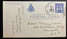 1914 Lucena Philippines Postal Stationery Postcard Cover to Chicago IL USA