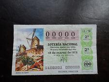 Décimo LOTERIA NACIONAL nº 00000 sorteo 11/78 sin sello Admón. en reverso
