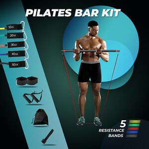 Pilates Bar Kit Resistance Bands Yoga Fitness Strength Workout Gym Exercise Home