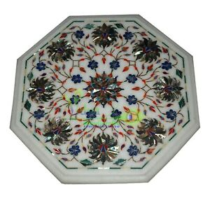"12"" Marble Coffee Table Top Abalone Shell Handmade Floral Inlay Home Decor Gift"