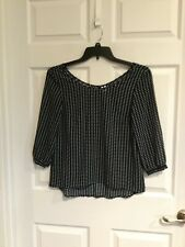 Divided by H & M women's 6 navy shirt white arrow design 3/4 sleeve