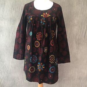 Namaste Tunic Dress Mirror Long Sleeves Nepal Embroidery M 10 12 Hippie Boho W4