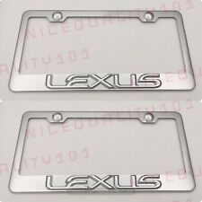 2x 3d Lexus F Sport Stainless Steel Chrome Finished License Plate Frame