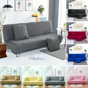 Stretch Sofa Bed Cover Futon Couch Slipcover Solid Color Folding Elastic Armless