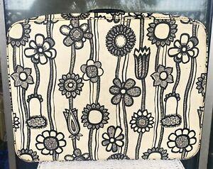 Vintage Samsonite Fashionaire Suitcase Black White MOD Flower Power 1960's