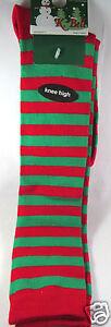 K.Bell Christmas Red Green Stripe Sock Ladies Knee High Acrylic Blend Socks New